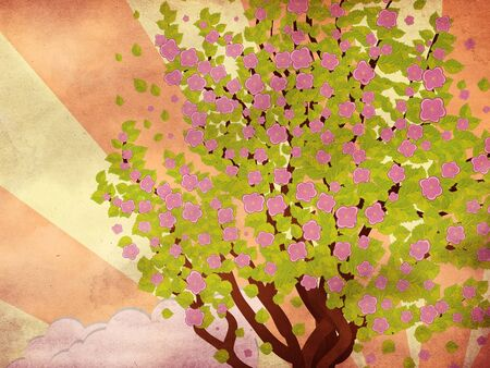 Illustration of cherry with pink blossom, sakura tree on grunge background with rays. Stock Illustration - 17564713