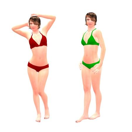 trashy: Digital render of a beautiful women in red and green bikini on white background.