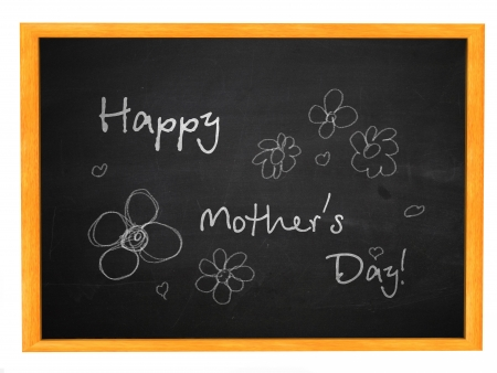 mothering: Illustration of Happy Mothers Day written on a black chalkboard.