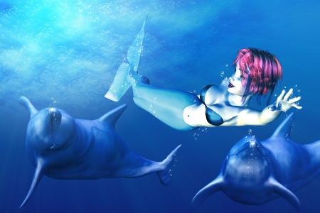Illustration of mermaid with red hair playing with funny dolphins. Stock Illustration - 17594750