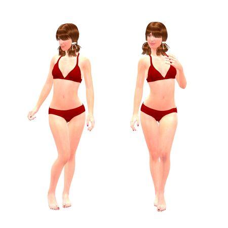 trashy: Digital render of a beautiful woman in red bikini on white background. Stock Photo