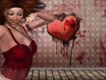 stabbed: Illustration of 3d woman and heart with needles sticking in it and bloody wall.