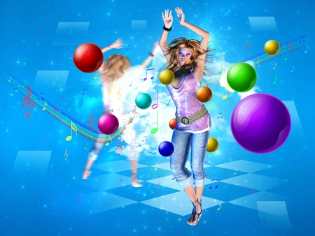 3d dance: Illustration of abstract dance background with a pretty 3d girl.