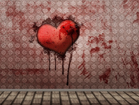 stabbed: Illustration of textured heart with needles or pins sticking in it and bloody wall. Stock Photo