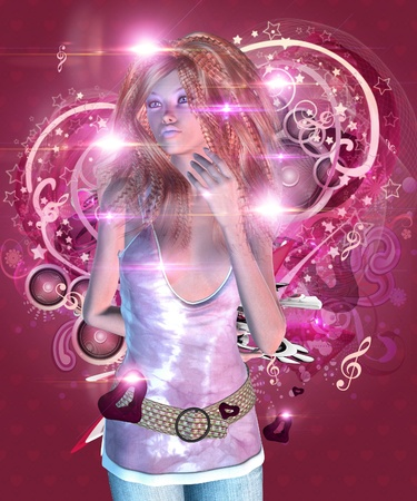 sexy girl cartoon: Illustration of 3d girl on pink music background with heart. Stock Photo