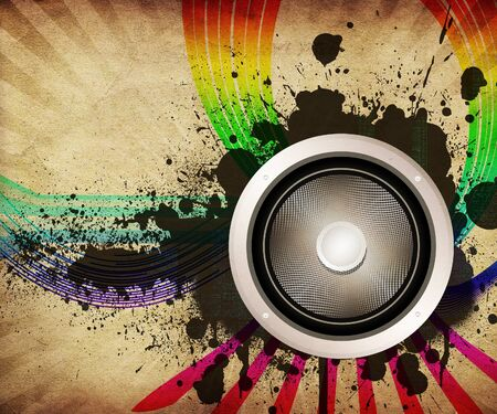 interesting music: Illustration of vintage grunge musical background with sound speaker and colorful lines.
