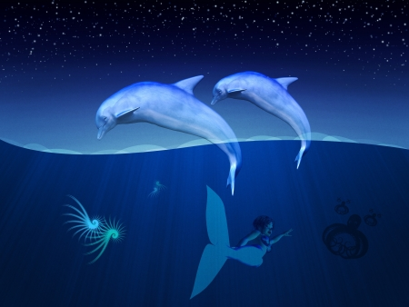 Illustration of friendly dolphins and mermaid, sealife underwater scene.