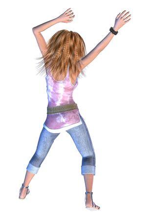 dancing girl: Digital render of a beautiful blonde girl in jeans dancing.