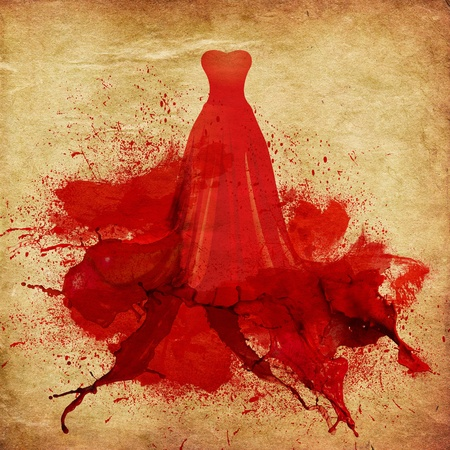 Illustration of elegant red dress melting in paint on vintage paper background. Stock Illustration - 17719218