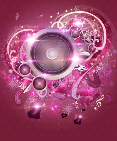 Illustration of pink valentine music background with hearts and speakers. illustration