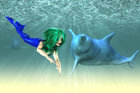 underwater scene: Abstract illustration of a mermaid with a dolphins, underwater scene. Stock Photo