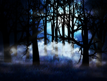 myst: Illustration of dark forest in a blue mist at night background.