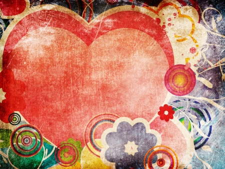 Illustration of big pink heart and flowers on grunge background. Stock Photo