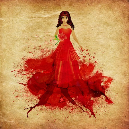 red haired woman: Illustration of red haired woman with elegant dress melting in red paint grunge background.