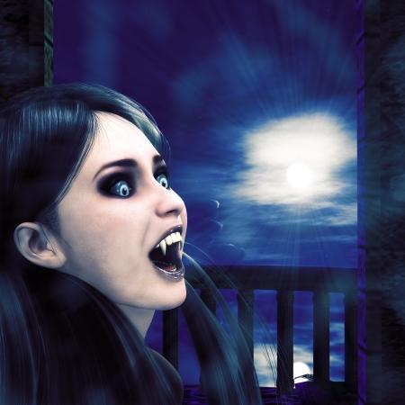 3d vampire: Illustration of a 3d vampire girl on balcony at night time. Stock Photo