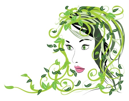 Illustration of spring girl portrait with green floral hair. Stock Vector - 17784869