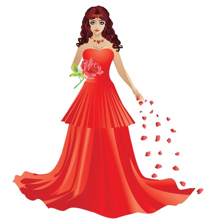red haired girl: Illustration of beautiful red haired girl in red dress with rose petals.
