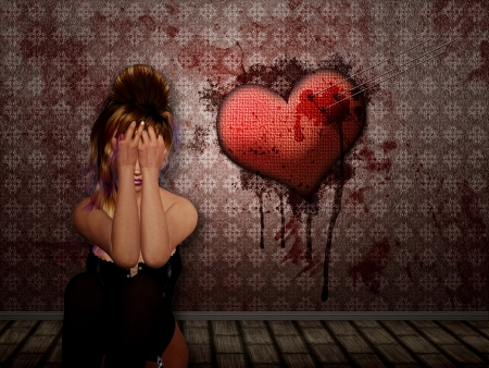 wounded: Illustration of 3d woman in underwear and heart with needles sticking in it and bloody wall.