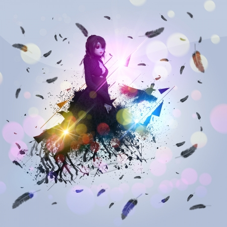 Illustration of a 3d girl in black dress with raven grunge background. illustration