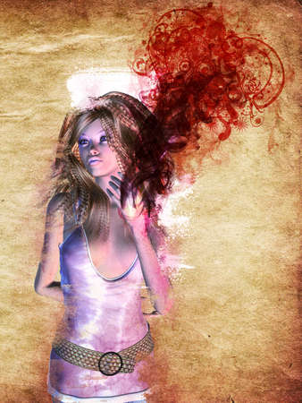 Grunge illustration of 3d girl with red smoke and floral on grunge paper background. Stock Illustration - 17787624