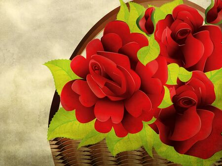 bast basket: Illustration of floral basket with red roses on paper background.