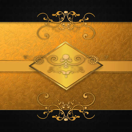 Abstract background with antique, vintage pattern and golden plate, template for design. photo