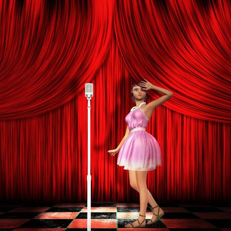 Illustration of a girl in pink dress walking on stage with red curtains. illustration