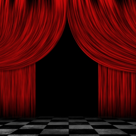 Illustration of open theater drapes or stage curtains with a black background.