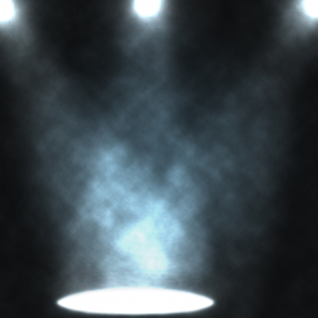 emptiness: Blue light beams from projectors, illuminating smoke background. Stock Photo
