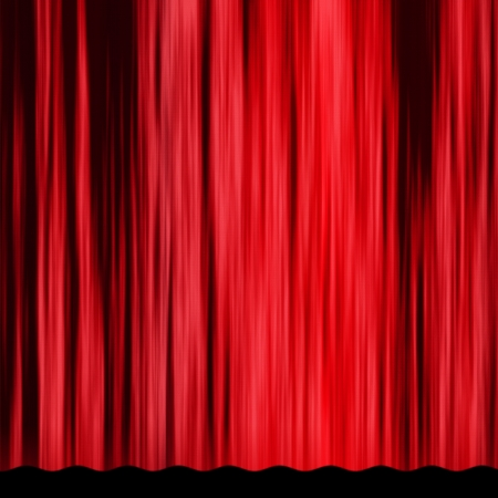 Classical vintage red curtain of theater stage background. photo