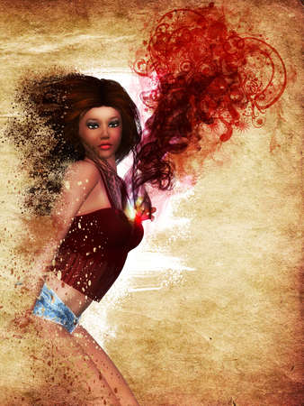 harmonous: Grunge illustration of 3d girl with red smoke and floral on grunge paper background.
