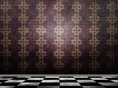 Illustration of background in with pattern wallpaper and checkered tile floor. Stock Illustration - 17922446