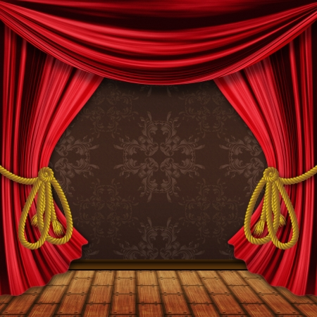thespian: Opened red theater drapes, curtains with wood floor background.