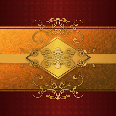 Abstract background with red lace with vintage pattern and golden floral elements. photo