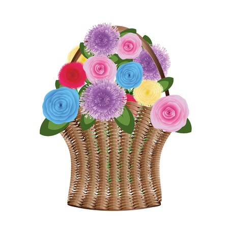 weaved: Illustration of wood weaved basket with flowers.