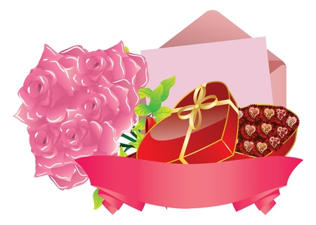 Illustration of gift box, pink roses, letter and ribbon on white background. Illustration