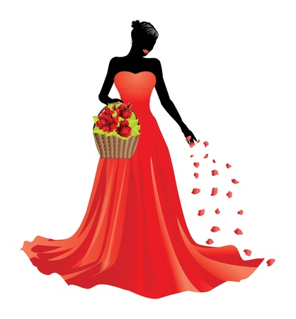 Illustration of girl in red dress with basket of roses.