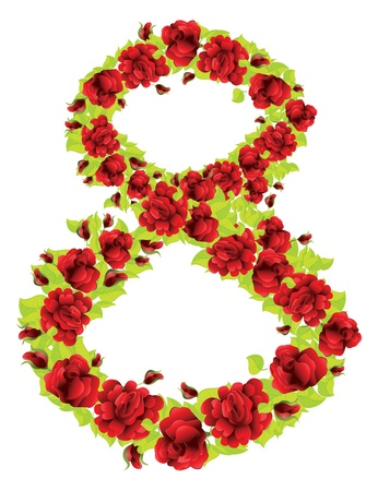 Number 8 made from red roses and green leaves on white background. Vector