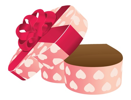 Illustration of opened empty heart shape pink gift box with bow. Stock Vector - 17922480