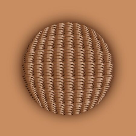 weaved: Illustration of wooden weaved ball on brown background.