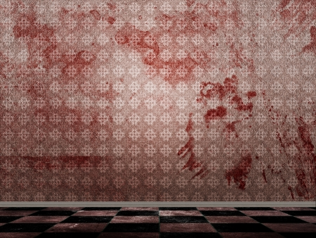 Illustration of room with checkered floor and grunge bloody wall. illustration