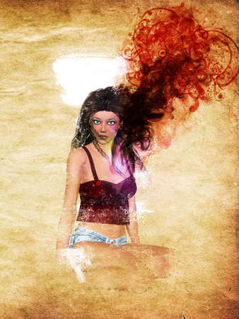 Grunge illustration of 3d girl with red smoke and floral on grunge paper background. Stock Illustration - 17922524