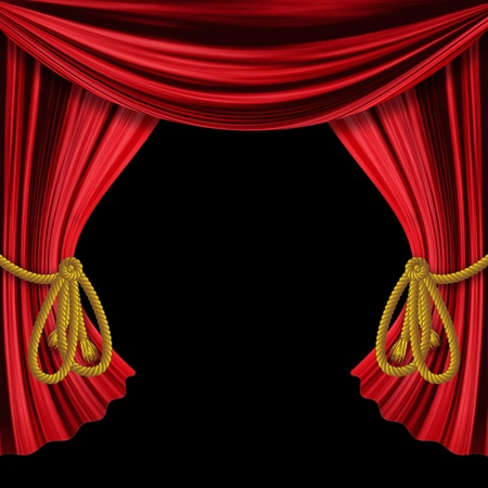 Opened red theater drapes, curtains on black background.