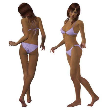 Digital rinde de una mulata en bikini lila sobre fondo blanco. Foto de archivo - 17917978