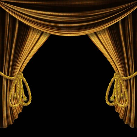 Opened golden theater drapes, curtains on black background. photo