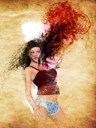 Grunge illustration of 3d girl with red smoke and floral on grunge paper background. Stock Illustration - 17963018