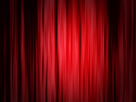 awards ceremony: Classical red curtain of theater stage with spotlight background. Stock Photo