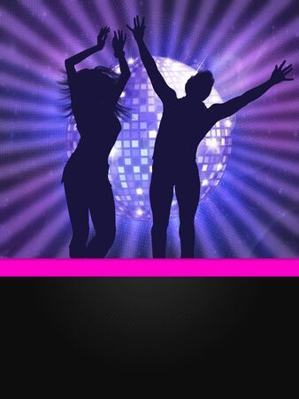 Disco poster with silhouettes of dancing couple and disco ball. photo