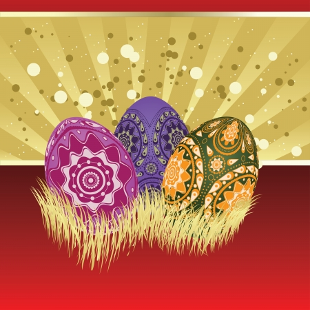 smoothed: Easter card of gold and red color with colorful eggs