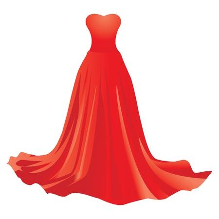 Illustration de la robe rouge sur fond blanc Vecteurs